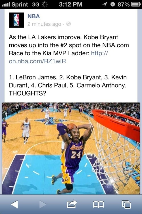 NBA's Facebook account promotes its newest MVP rankings.